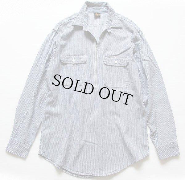 画像1: 80s USA製 Prentiss チンスト付き ヒッコリー ストライプ ハーフジップ プルオーバー ワークシャツ 紺×白 M