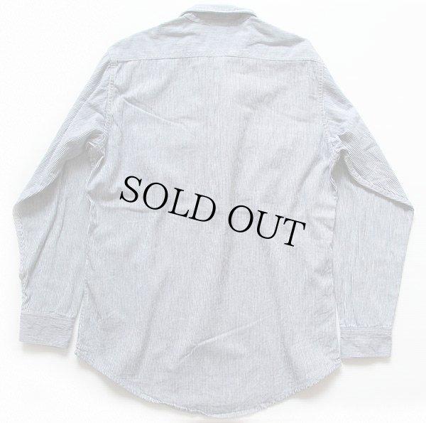 画像2: 80s USA製 Prentiss チンスト付き ヒッコリー ストライプ ハーフジップ プルオーバー ワークシャツ 紺×白 M