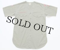 50s BSA パッチ&マチ付き コットンポプリン ノーカラー 半袖ボーイスカウトシャツ