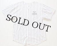 80s USA製 FIELD OF DREAMS ストライプ コットン ベースボールシャツ 白×黒 L