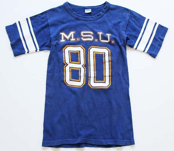 画像2: 70s USA製 Championチャンピオン M.S.U.80 フットボールTシャツ 青 S