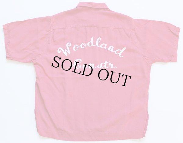 画像1: 50s USA製 King Louieキングルイ チェーン刺繍 レーヨン ボウリングシャツ ピンク M