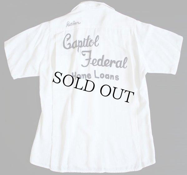 画像1: 60s USA製 King Louieキングルイ チェーン刺繍 レーヨン ボウリングシャツ 白 S