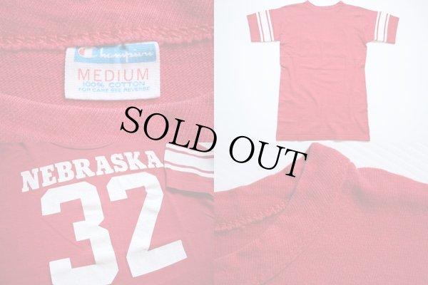 画像3: 70s USA製 Championチャンピオン NEBRASKA 32 ナンバリング フットボールTシャツ 赤 M