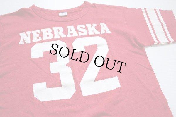 画像1: 70s USA製 Championチャンピオン NEBRASKA 32 ナンバリング フットボールTシャツ 赤 M