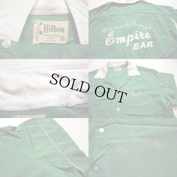 画像3: 50s Hiltonヒルトン チェーン刺繍 レーヨン ボウリングシャツ 緑 L