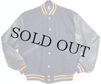 60s BUTWINバトウィン 袖革スタジャン 紺×黒 42
