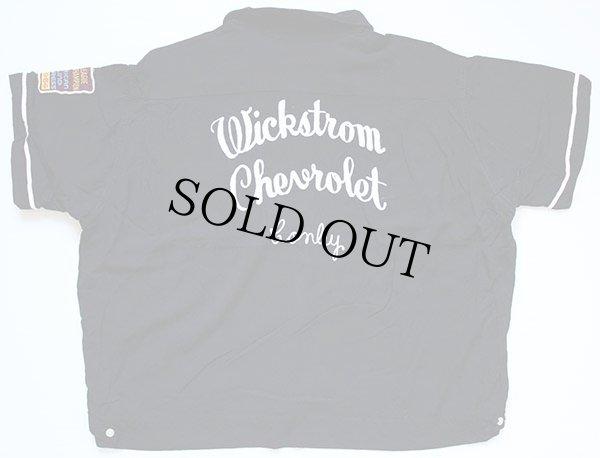 画像1: 60s OLYMPIAN チェーン刺繍 レーヨン ボウリングシャツ 黒 XL