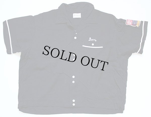 画像2: 60s OLYMPIAN チェーン刺繍 レーヨン ボウリングシャツ 黒 XL