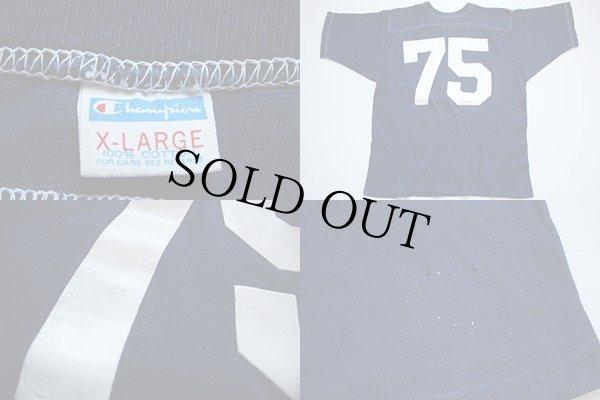 画像3: 70s USA製 Championチャンピオン 75 ナンバリング フットボールTシャツ 紺 XL