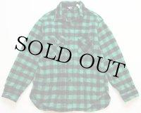 80s USA製 Woolrichウールリッチ バッファローチェック ウールシャツ 緑×黒 L