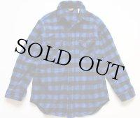 90s USA製 Woolrichウールリッチ バッファローチェック ウールシャツ 青×黒 L