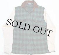 90s USA製 ポロ ラルフローレン オンブレチェック サーマル切り替え コットンシャツ