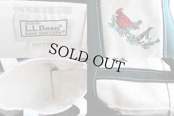 画像3: USA製 L.L.Bean BOAT AND TOTE 鳥刺繍 キャンバス トートバッグ 白x緑 ミニ