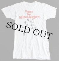 70s USA製 Gaines 染み込みプリントTシャツ 白 L