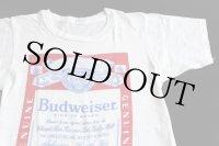 70s USA製Budweiserバドワイザー染み込みプリントTシャツ白S