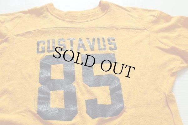 画像1: 80s USA製 Championチャンピオン GUSTAVUS 85 ナンバリング フットボールTシャツ 黄 L