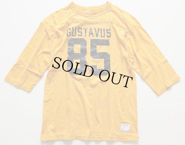 画像2: 80s USA製 Championチャンピオン GUSTAVUS 85 ナンバリング フットボールTシャツ 黄 L