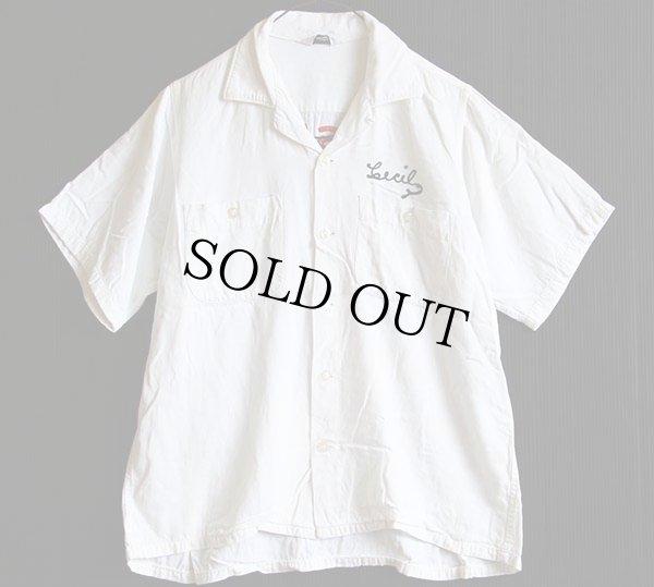 画像2: 60s MOSLEM フリーメイソン チェーン刺繍 ボウリングシャツ 白 M