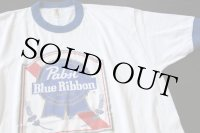 80s USA製 Pabst Blue Ribbon リンガーTシャツ L