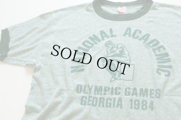 画像1: 80s USA製NATIONAL ACADEMICリンガーTシャツ 緑 L