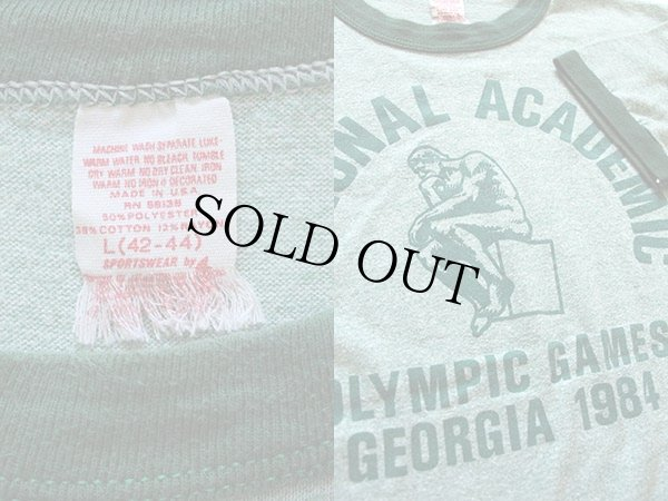 画像3: 80s USA製NATIONAL ACADEMICリンガーTシャツ 緑 L