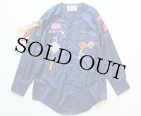 70s CUB BSA ピンズ&パッチ付き ノーカラー ボーイスカウトシャツ 青