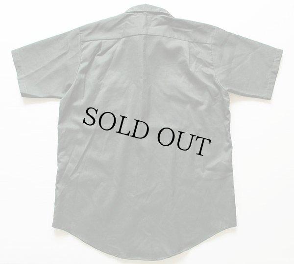 画像2: 70s Leeリー チェーン刺繍 半袖 ワークシャツ 深緑