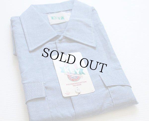 画像1: デッドストック★80s USA製 KEY 半袖 シャンブレーシャツ XL