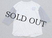 70s USA製 ARTEX CONNECTICUT 染み込みプリント ヘンリーネック 七分袖Tシャツ 白×紺 L