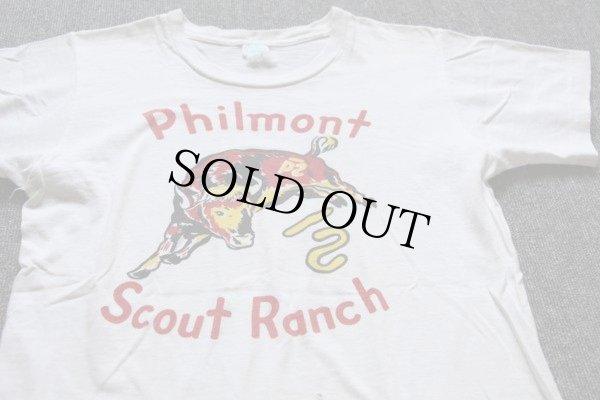 画像1: 60s BSAボーイスカウト Philmont 染み込みプリント Tシャツ 白