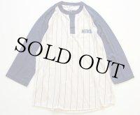 70s USA製 NIKEナイキ ゴツナイキ ストライプ ヘンリーネック 七分袖 Tシャツ クリーム×紺 L