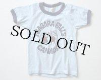 80s NIAGARA FALLS CANADA リンガーTシャツ 水色×紺 キッズ