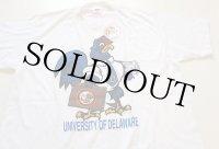 80sデッドストック USA製 UNIVERSITY OF DELAWARE マスコット Tシャツ 白 L