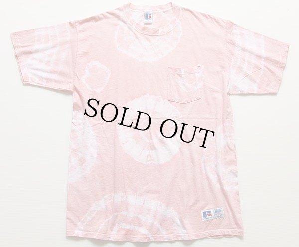 画像2: 90s USA製 RUSSELLラッセル タイダイ染め コットン ポケットTシャツ XL