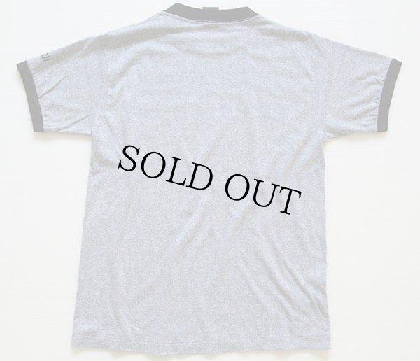 画像3: 80s USA製 maxellマクセル ロゴ 染み込みプリント リンガーTシャツ 杢グレー×黒 M