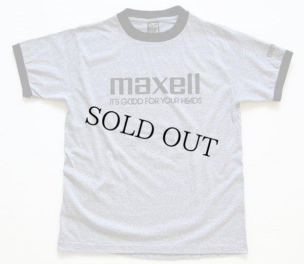 画像2: 80s USA製 maxellマクセル ロゴ 染み込みプリント リンガーTシャツ 杢グレー×黒 M