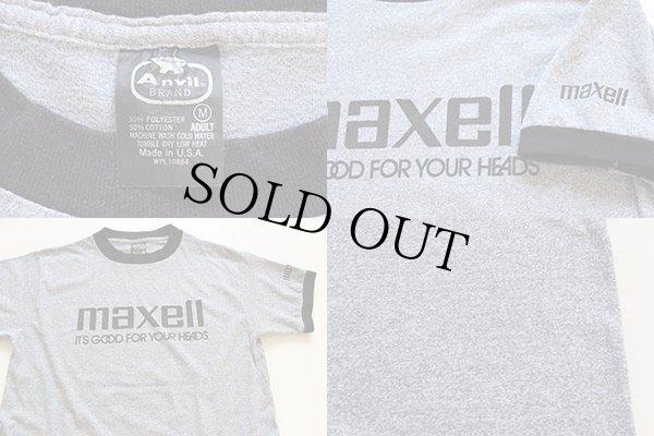 画像4: 80s USA製 maxellマクセル ロゴ 染み込みプリント リンガーTシャツ 杢グレー×黒 M