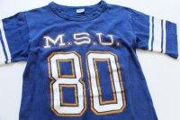 70s USA製 Championチャンピオン M.S.U.80 フットボールTシャツ 青 S