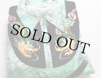50sデッドストック I.M.C CRAFTSMAN JAPAN 龍 刺繍 ベロア切り替え スカシャツ L★スーベニア
