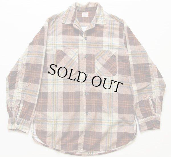 画像1: 50s PENNEY'S マチ付き チェック プリントネルシャツ M
