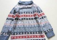 70s USA製 Donmoor タートルネック ボーダー ジャガード 長袖Tシャツ キッズ3T