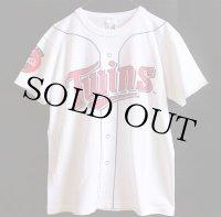 90s USA製 Twins Coca-Colaコカコーラ ベースボールシャツ 騙し絵 コットンTシャツ 白 M