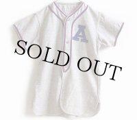 50s A&B マチ付き ウール ベースボールシャツ 16 杢グレー L