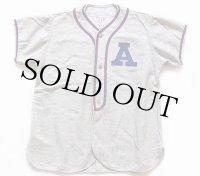 50s A&B マチ付き ウール ベースボールシャツ 18 杢グレー Ex.L