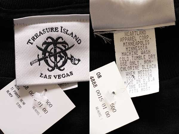 画像4: 90sデッドストック USA製 TREASURE ISLAND LAS VEGAS 海賊 クマ コットンTシャツ 黒 特大