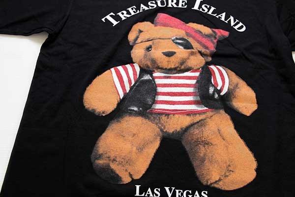 画像3: 90sデッドストック USA製 TREASURE ISLAND LAS VEGAS 海賊 クマ コットンTシャツ 黒 特大