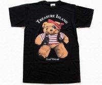 90sデッドストック USA製 TREASURE ISLAND LAS VEGAS 海賊 クマ コットンTシャツ 黒 特大