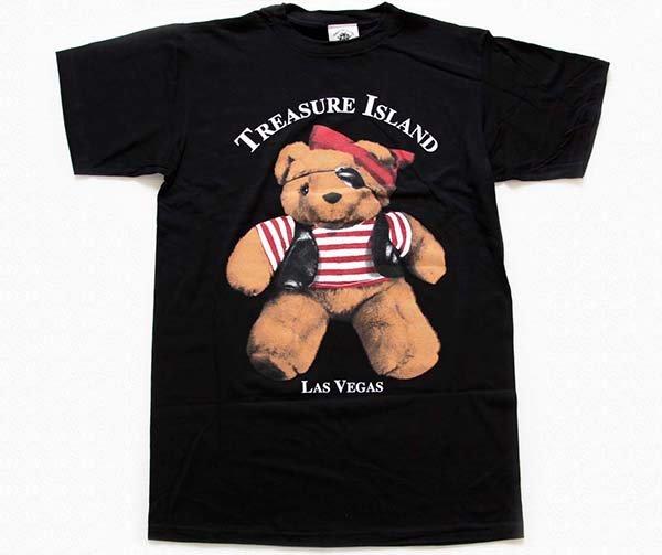 画像1: 90sデッドストック USA製 TREASURE ISLAND LAS VEGAS 海賊 クマ コットンTシャツ 黒 特大