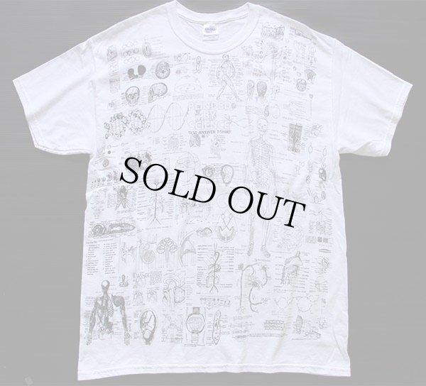 画像1: BLINDED BY SCIENCE 人体 総柄 コットンTシャツ 白 L